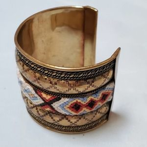Handcrafted Metal Cuff w/ Aztec Embroidery Detail